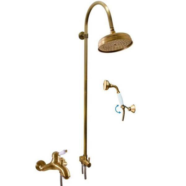 Labe L554.5/3LSM БронзаДушевые системы<br>Душевая система Rav Slezak Labe L554.5/3LSM.<br>Изящная модель для ванных комнат в классическом или в ретро-стиле.<br>Монолитный смеситель изготовлен из качественной латуни с гладким покрытием цвета хром.<br>Керамический картридж Kerox (Венгрия) KA3501 35 мм.<br>Переключатель ванна-душ.<br>Длина излива: 15,9 см.<br>Латунная рукоятка.<br>Верхний душ KS0020SM круглой формы. Диаметр: 20 см.<br>Ручной душ KS0017SM с керамической ручкой.<br>Душевой шланг с двойной оплеткой MH1502SM длиной 150 см.<br>Штанга высотой 122 см.<br>В комплекте поставки: душевая система, набор креплений.<br>