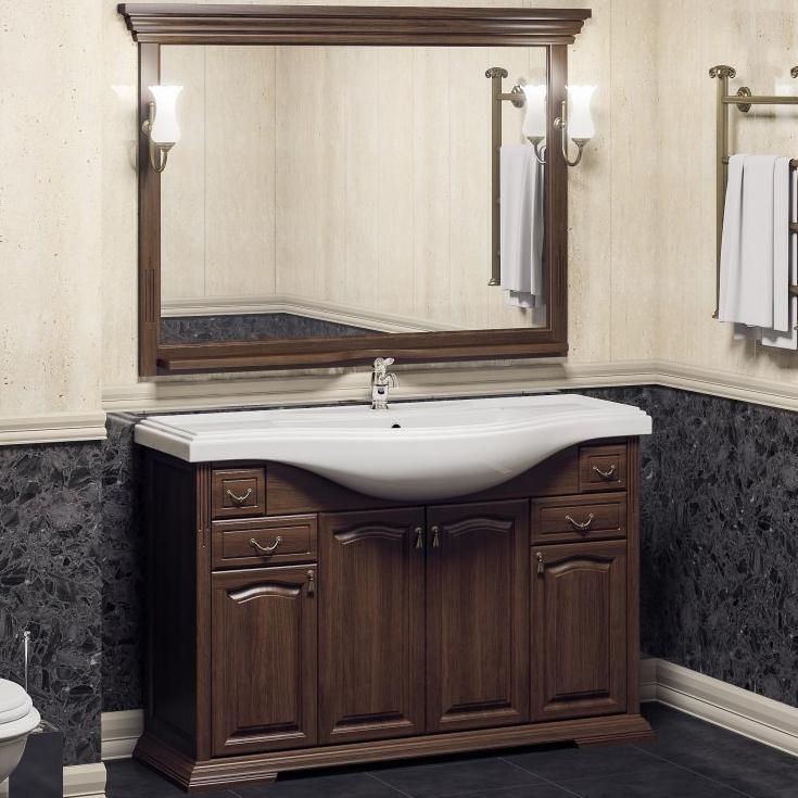 Комплект мебели для ванной Opadiris Риспекто 120 Орех антикварный со светильником Рустика Бронза фото