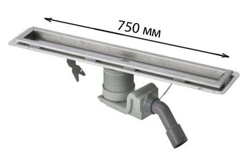 Visign 618001  С сифоном 750 ммДушевые трапы и лотки<br>Душевой лоток в комплекте с сифоном. Длина: 750 мм. Материал: металл. Высота от 90 до 150 мм. Пропускная способность по DIN EN 274, от 0,8 л/сек. до 1 л/сек. С регулируемой по сторонам и высоте решеткой, с гидрозатвором и съемным грязеуловителем. С компенсатором по высоте. С использованием жидкой изоляции или рулонной изоляции при тонких конструкциях.<br>