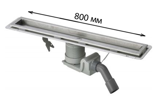 Visign 618018 С сифоном 800 ммДушевые трапы и лотки<br>Душевой лоток в комплекте с сифоном. Длина: 800 мм. Материал: металл. Высота от 90 до 150 мм. Пропускная способность по DIN EN 274, от 0,8 л/сек. до 1 л/сек. С регулируемой по сторонам и высоте решеткой, с гидрозатвором и съемным грязеуловителем. С компенсатором по высоте. С использованием жидкой изоляции или рулонной изоляции при тонких конструкциях.<br>