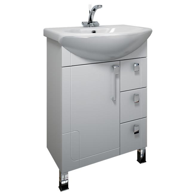 Диана 65 с ящиками Белая RМебель для ванной<br>Тумба белая с тремя выдвижными ящиками Triton Диана 65 правая. Белого цвета. В комплект поставки входит тумба под раковину.<br>