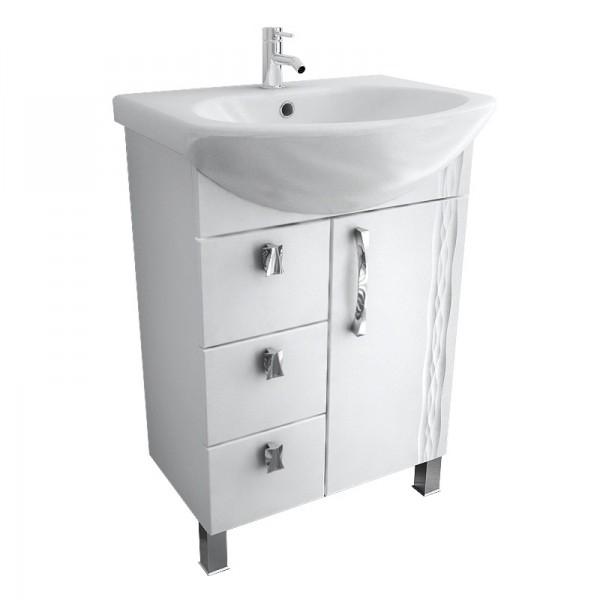 Кристи 65 с ящиками Белая LМебель для ванной<br>Тумба белая с тремя выдвижными ящиками Triton Кристи 65 левая. Белого цвета. Раковина в комплект не входит.<br>