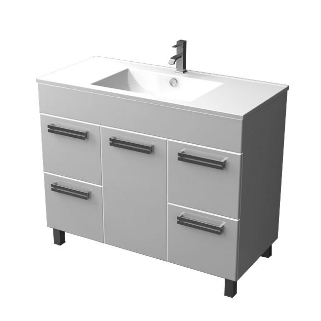 Ника 100 НапольнаяМебель для ванной<br>Тумба напольная с одной дверью и четырьмя выдвижными ящиками Triton Ника 100. Белого цвета. В комплект поставки входит тумба под раковину.<br>