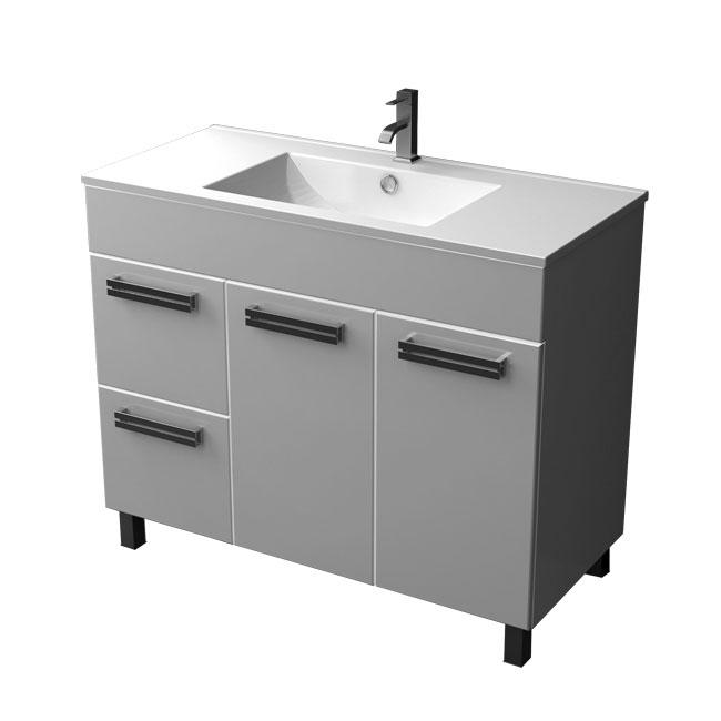 Ника 100 L/R Белая RМебель для ванной<br>Тумба напольная с двумя дверьми и двумя выдвижными ящиками справа Triton Ника 100. Белого цвета. Раковина в комплект не входит.<br>