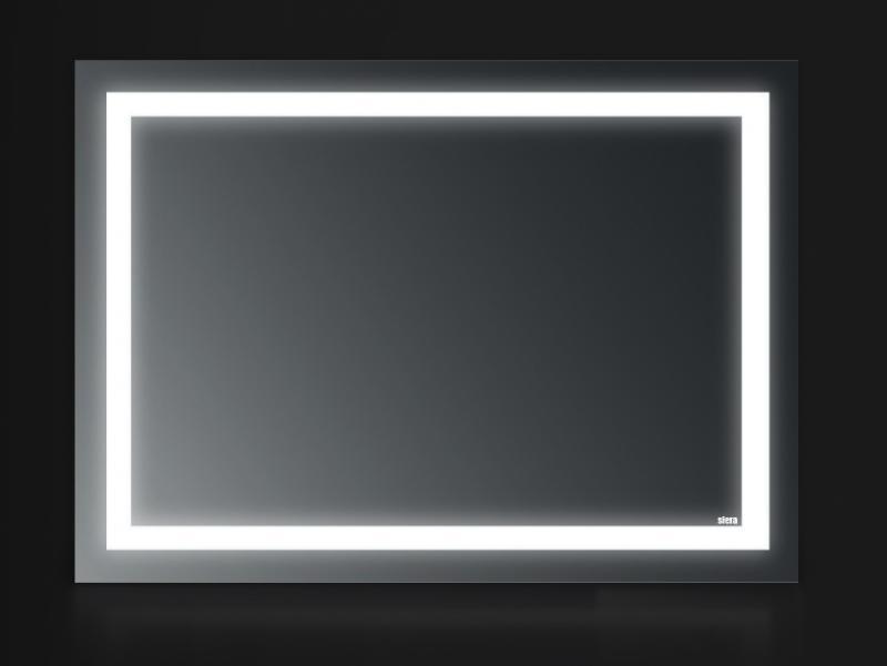 Prime 100х65 100х65Мебель для ванной<br>Зеркало прямоугольное настенное со встроенной подсветкой белого цвета, сенсорным выключателем и обогревом. Цвет ламп имеет холодный оттенок. Обогрев позволяет избежать запотевание зеркала. В зеркало встроен датчик температуры, который отключает обогрев при достижении необходимой температуры. Выключатель расположен на раме зеркала снизу под фирменным логотипом.<br>