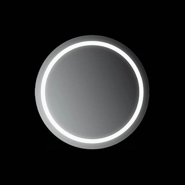 Ring 60x60 60X60Мебель для ванной<br>Зеркало круглое настенное со встроенной подсветкой белого цвета, сенсорным выключателем и обогревом. Цвет ламп имеет холодный оттенок. Обогрев позволяет избежать запотевание зеркала. В зеркало встроен датчик температуры, который отключает обогрев при достижении необходимой температуры. Выключатель расположен на раме зеркала снизу под фирменным логотипом.<br>