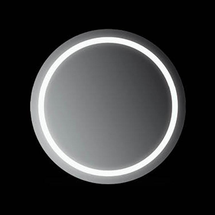 Ring 70x70 70х70Мебель для ванной<br>Зеркало круглое настенное со встроенной подсветкой белого цвета, сенсорным выключателем и обогревом. Цвет ламп имеет холодный оттенок. Обогрев позволяет избежать запотевание зеркала. В зеркало встроен датчик температуры, который отключает обогрев при достижении необходимой температуры. Выключатель расположен на раме зеркала снизу под фирменным логотипом.<br>