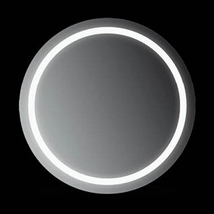 Ring 80x80 80х80Мебель для ванной<br>Зеркало круглое настенное со встроенной подсветкой белого цвета, сенсорным выключателем и обогревом. Цвет ламп имеет холодный оттенок. Обогрев позволяет избежать запотевание зеркала. В зеркало встроен датчик температуры, который отключает обогрев при достижении необходимой температуры. Выключатель расположен на раме зеркала снизу под фирменным логотипом.<br>