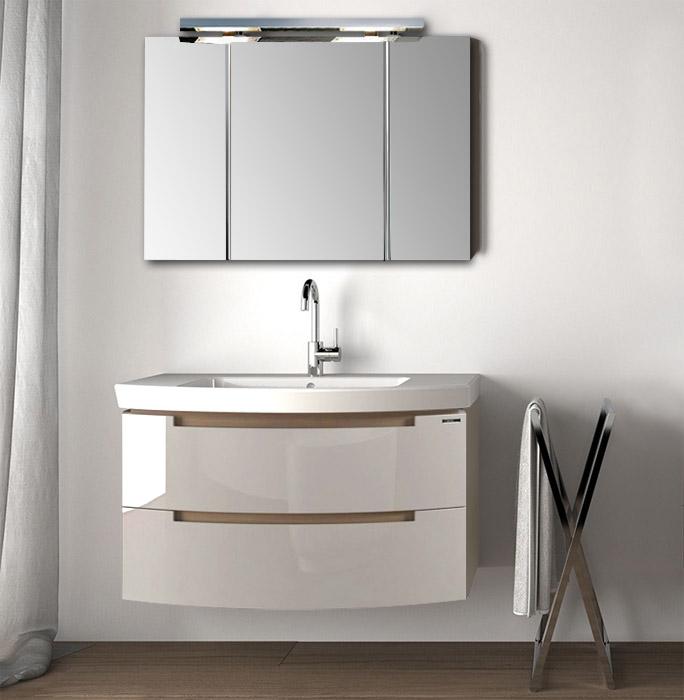 Moon MN BS33T 100 подвесная БелаяМебель для ванной<br>Тумба подвесная для ванной Berloni Bagno Moon MN BS33T 100 белого цвета. Так же в комплекте керамическая раковина. Выдвижные ящики, механизм с доводчиком и плавным бесшумным закрытием.<br>