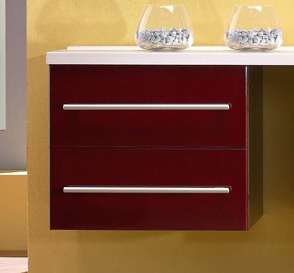 Avon F 60.70    Бордо глянец/Светлый орехМебель для ванной<br>Gorenje Avon F 60.70 нижний шкаф под раковину-столешницу. Шкаф подвесной с двумя выдвижными ящиками, цвет фасада бордо глянец, корпуса светлый орех.<br>