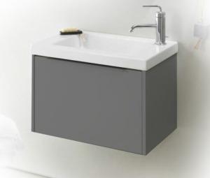XS EB697-442 Тёмный-дубМебель для ванной<br>Тумба Jacob Delafon XS EB697-NR под раковину. Дополнительно Вы можете приобрести: керамическую раковину 600 мм EB680-00, зеркало EB657-NF с галогеновой подсветкой, полуколонну EB656D или EB656G.<br>