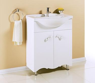 Арт Деко 65 БелаяМебель для ванной<br>Тумба Aqwella Арт Деко 65  в комплекте с раковиной. Две дверцы. Дополнительно Вы можете приобрести панель с зеркалом и полкой, артикул Art.02.65.<br>