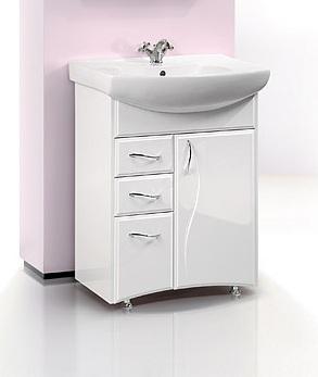 Глория 65 БелаяМебель для ванной<br>Тумба Aqwella Глория 65  в комплекте с раковиной. Одна дверца, три ящика. Дополнительно Вы можете приобрести  зеркало со шкафчиком и светильником, артикул GL.02.06.<br>