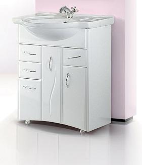 Глория 75 БелаяМебель для ванной<br>Тумба Aqwella Глория 75  в комплекте с раковиной. Две дверцы, четыре ящика. Дополнительно Вы можете приобрести зеркало со шкафчиком и светильником, артикул GL.02.07.<br>