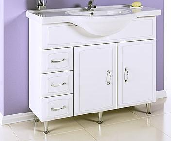 Харизма 100 БелаяМебель для ванной<br>Тумба под раковину Aqwella Харизма 100. Две дверцы, три ящика. Дополнительно Вы можете приобрести раковину, зеркало со шкафчиком и подсветкой, артикул Kh.02.10.<br>