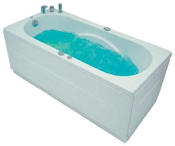 Jersey 150 Система 1: АэромассажВанны<br>Victory Spa Jersey 150 OOV.030.910.01.1 прямоугольная акриловая ванна белого цвета. Стандартная комплектация: электронная система управления; сегментный дисплей (время и температура воды); подводная светодиодная подсветка; таймер с установкой желаемого времени принятия процедур. Аэромассаж: компрессор с встроенным нагревателем; плавная регулировка интенсивности потока воздуха; дренаж аэромассажной системы после принятия ванны; автоматическая продувка и просушка аэромассажной системы после принятия ванны. Дополнительно можно приобрести панели, алюминиевую раму, подголовник, смеситель.<br>
