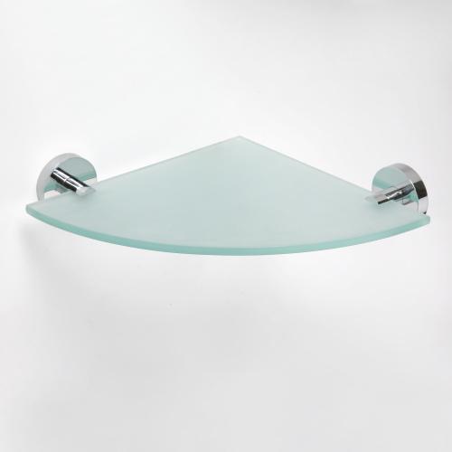 Omega 104102012 ХромАксессуары для ванной<br>Полочка для ванной Bemeta Omega 104102012 стеклянная угловая 250мм. Цвет хром.<br>