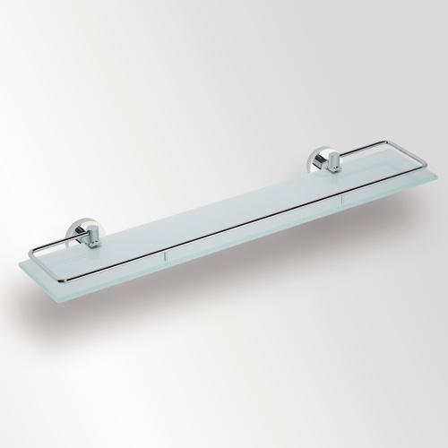 Omega 104102212 ХромАксессуары для ванной<br>Полочка для ванной Bemeta Omega 104102212 стеклянная с рельсами 600 мм. Цвет хром.<br>
