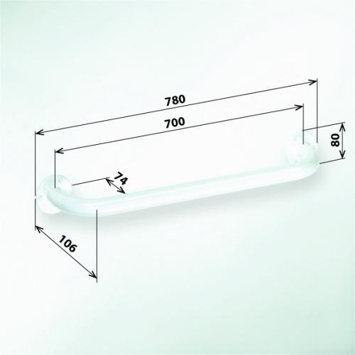 Help 301100704 БелыйАксессуары для ванной<br>Поручень для ванны Bemeta Help 301100704 700 мм. Цвет белый.<br>