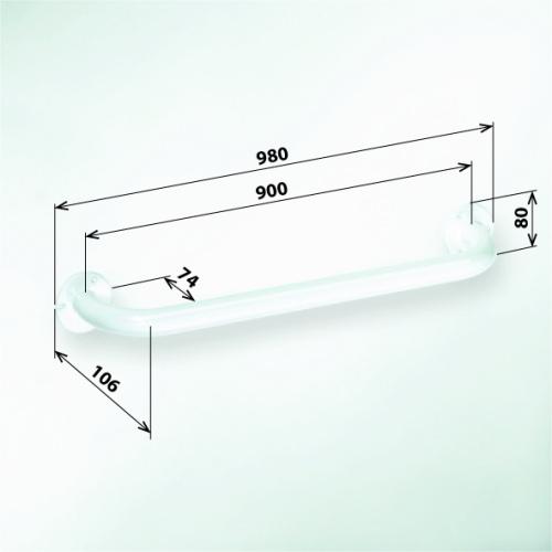 Help 301100904 БелыйАксессуары для ванной<br>Поручень для ванны Bemeta Help 301100904 900 мм. Цвет белый.<br>