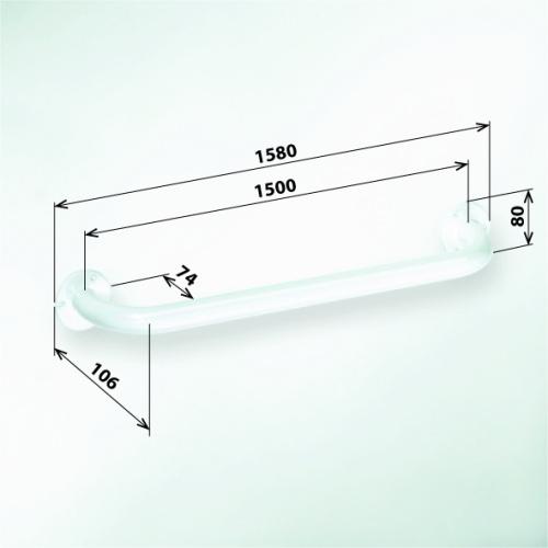 Help 301101504 БелыйАксессуары для ванной<br>Поручень для ванны Bemeta Help 301101504 1500 мм. Цвет белый.<br>