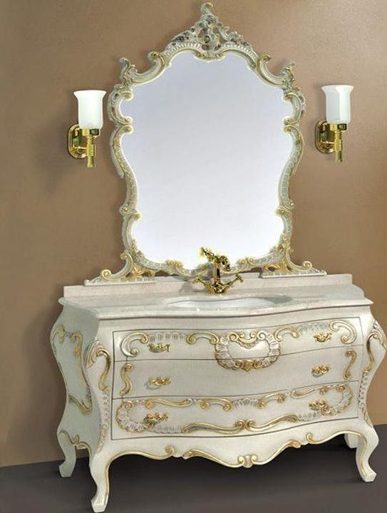 Barocco decoro 7233 decoro LibertyМебель для ванной<br>TW Barocco decoro тумба под раковину. Стоимость указана за напольную тумбу без раковины, цвет: decoro Liberty, ручки золото. Раковина, столешница и зеркало приобретаются отдельно.<br>