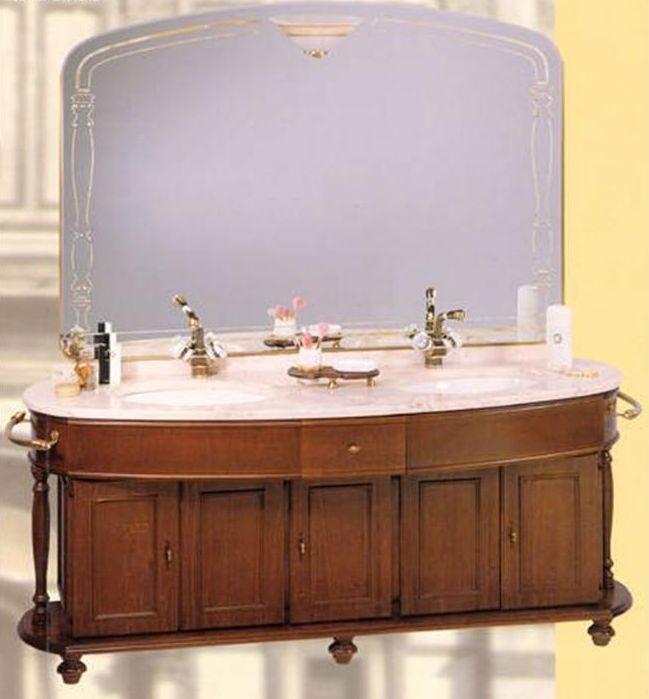 Firenze 7025 D на ножках NoceМебель для ванной<br>TW Firenze 7025/D тумба под две раковины. Стоимость указана за напольную тумбу без раковины, цвет: noce (темный орех), с 2-мя п/держателями, ручки бронза. Раковина, столешница, зеркало и светильник приобретаются отдельно.<br>