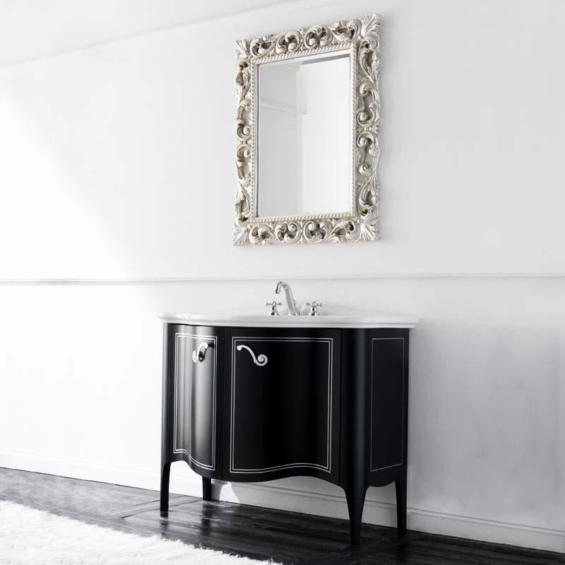 Bristol Nero mat/RAМебель для ванной<br>TW Bristol тумба под раковину. Стоимость указана за напольную тумбу без раковины, цвет: nero mat/RA (черный матовый) с отделкой rigo argento, ручки хром. Раковина и зеркало приобретаются отдельно.<br>