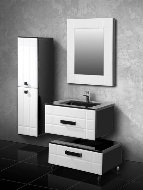 Деко Фасад белый, корпус чёрный.Мебель для ванной<br>Тумба подвесная Edelform Deco с выдвижным ящиком.<br>