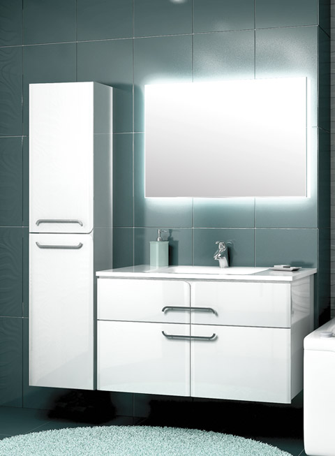 Некст 100 БелаяМебель для ванной<br>Тумба подвесная Edelform Next 100 с двумя выдвижными ящиками.<br>