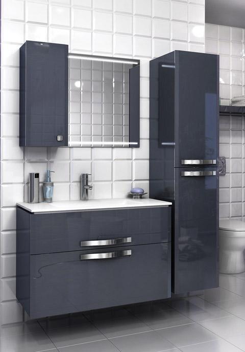 Нота 90 СерыйМебель для ванной<br>Тумба подвесная Edelform Nota 90 с выдвижным ящиком. Стоимость указана только за тумбу, дополнительно вы можете приобрести раковину, зеркало и пенал. Цвет серый.<br>