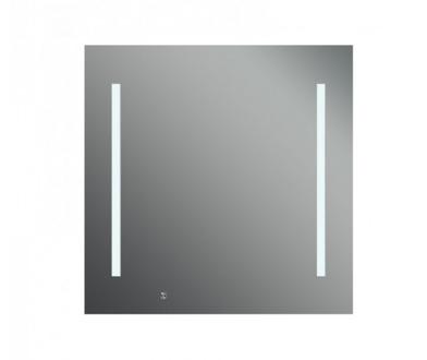 Ready 650х650 ХромМебель для ванной<br>Dubiel Vitrum Ready 650х650 серебряное зеркало для ванной комнаты, c сенсорным переключателем. С двумя планками декор мороз.  Освещение-с задней стороны с помощью набора флуоресцентных ламп. С цифровыми часами.<br>