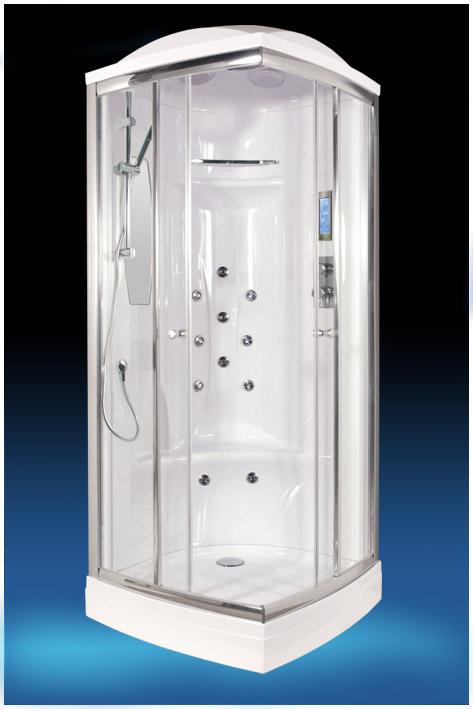 EF-2001 (EF-1030L) С гидромассажемДушевые кабины<br>Душевая кабина Edelform EF-2001. Комплектация: самоочищающиеся форсунки (система quickclean), ударопрочное каленое стекло 6 мм, верхний душ, ручной душ, сенсорный пульт управления, зеркало, полочка для шампуня, FM радио, верхнее освещение, вентиляция, двойные ролики, антискользящая поверхность поддона, озонатор воздуха, форсунки для массажа икроножных мышц.<br>