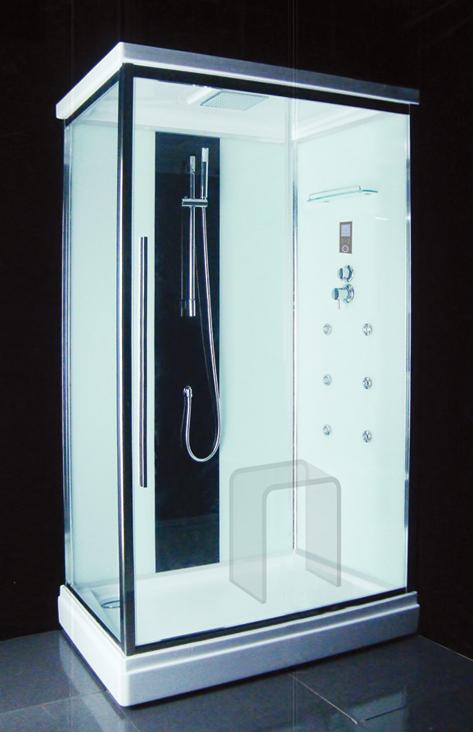 EF-2410 (EF-4051L) LДушевые кабины<br>Душевая кабина Edelform EF-2410. Комплектация: самоочищающиеся форсунки (система quickclean), ударопрочное каленое стекло 6 мм, верхний душ, смеситель термостат, ручной душ, сенсорный пульт управления, 2 полочки для шампуня, FM радио, верхнее освещение, вентиляция, двойные ролики, стеклянные задние стенки, акриловый стульчик, озонатор воздуха, система быстрой сборки профиля.<br>
