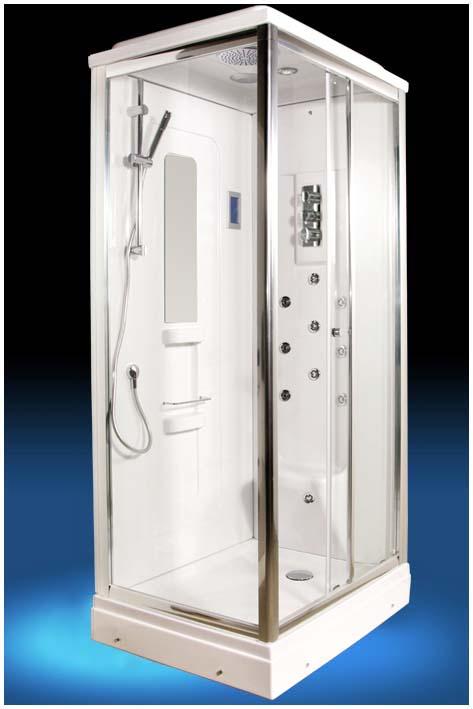 EF-2062 (EF-2051L) RДушевые кабины<br>Душевая кабина Edelform EF-2062. Комплектация: термостат FM Mattsson (Швеция), самоочищающиеся форсунки (система quickclean), ударопрочное каленое стекло 6 мм, верхний душ, ручной душ, сенсорный пульт управления, зеркало, полочка для шампуня, FM радио, верхнее освещение, вентиляция, двойные ролики, антискользящая поверхность поддона, озонатор воздуха, форсунки для массажа икроножных мышц.<br>
