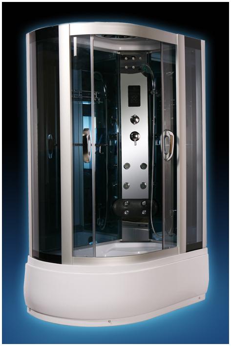 520 RДушевые кабины<br>Душевая кабина Luxus 520. В комплектацию входит: высокий поддон 430 мм, крыша, тонированные стёкла, верхний душ, смеситель, ручной душ, полочка для шампуня, вешалка для полотенец, зеркало, светодиодная декоративная подсветка, верхнее освещение, FM радио, вентиляция, сенсорный пульт, точечный массаж, нижний излив для наполнения поддона, мягкая спинка с гидромассажем, гидромассажная панель из полированной нержавеющей стали, горизонтальный профиль.<br>