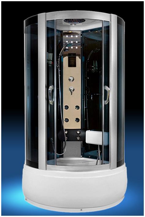 518 С гидромассажемДушевые кабины<br>Душевая кабина Luxus 518. В комплектацию входит: высокий поддон 430 мм, крыша, тонированное стекло, верхний душ, смеситель, ручной душ, полочка для шампуня, вешалка для полотенец, зеркало, светодиодная декоративная подсветка, верхнее освещение, FM радио, вентиляция, сенсорный пульт, точечный массаж, нижний излив для наполнения поддона, мягкая спинка с гидромассажем, гидромассажная панель из полированной нержавеющей стали, горизонтальный профиль.<br>