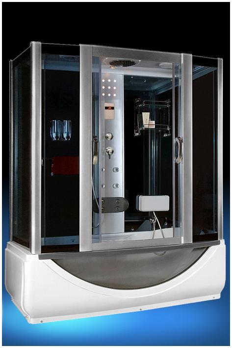 532 С паромДушевые боксы<br>Душевой бокс Luxus 532. В комплектацию входит: поддон 540 мм, тонированные стёкла, крыша, верхний душ, ручной душ, верхнее освещение, декоративная светодиодная подсветка, вентиляция, FM радио, телефон, гидромассажная панель из нержавеющей стали, горизонтальный профиль, полочка, вешалка, сенсорный пульт, точечный массаж, нижний излив для наполнения поддона, смеситель, мягкая спинка с гидромассажем, парогенератор, диспенсер.<br>