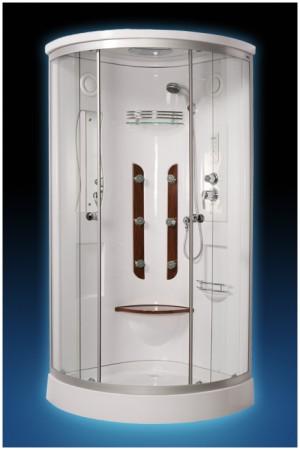 023D С гидромассажемДушевые кабины<br>Душевая кабина Luxus 023D. В комплектацию входит: поддон 160 мм, крыша, стекло прозрачное, верхний душ, ручной душ, зеркало, полочка, верхняя подсветка, вентиляция, FM радио, телефон, пульт, точечный массаж.<br>