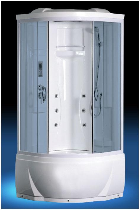 895 С гидромассажемДушевые кабины<br>Душевая кабина Luxus 895. В комплектацию входит: поддон 410 мм, крыша, прозрачное стекло, верхний душ, ручной душ, полочка, вентиляция, FM радио, верхняя подсветка, пульт управления, телефон.<br>