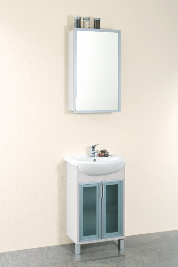Нью-Йорк 50 МалибуМебель для ванной<br>Тумба напольная Нью-Йорк 475x285x810 мм, с распашной дверцей. В комплекте поставки: тумба под раковину.<br>