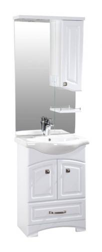 Честер 60 БелыйМебель для ванной<br>Тумба напольная Честер 545x340x810 мм, 2 распашных дверцы, 1 выдвижной ящик. В стоимость входит только тумба, дополнительно вы можете приобрести раковину, зеркальный шкаф и пенал.<br>