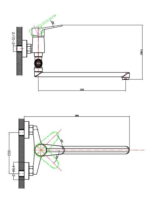 Схема смесителя для ванной Edelform Vito с длинным изливом style.