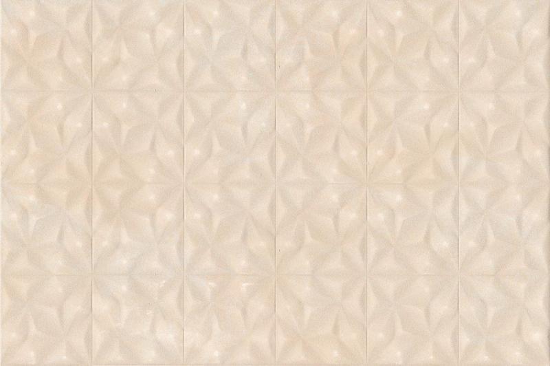 Tilda бежевая TDN012D настенная 30х45 смКерамическая плитка<br>Керамическая плитка Cersanit Tilda бежевая TDN012D настенная 30х45 см матовая оформлена псевдорельефом с геометрическим рисунком.Благодаря выступающим вершинам геометрического узора из пирамид, складывающихся в звезды, монохромный кафель приобретает множество нюансов и оттенков. Игра света и тени меняет весь облик окружающего пространства, преобразовывая привычные плоскости. В упаковке 10 штук общей площадью 1,35 м2. Вес упаковки составляет 21,33 кг.<br>