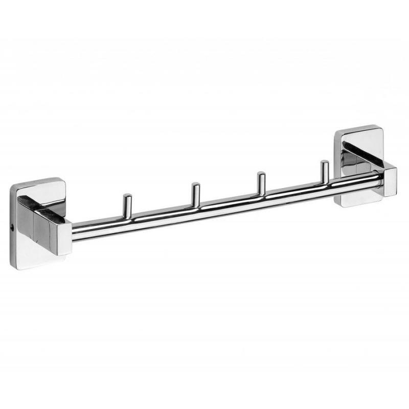 Niki 153105112 ХромАксессуары для ванной<br>Крючок для полотенец Bemeta Niki 153105112 планка на 4 крючка в ванную комнату.<br>Крючок выполнен в современном стиле (Hi-Tech), который будет органично смотреться в интерьере ванной. <br><br>Размеры: 30 x 53 x 45 см.<br>Использованы материалы: латунь .<br>Цвет: хром.<br><br>