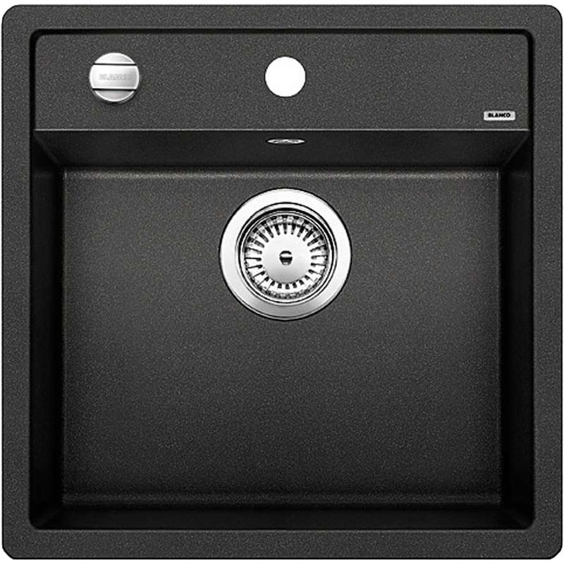 Dalago 5 МускатКухонные мойки<br>Кухонная мойка Blanco Dalago 5 521857.<br><br><br>Компактная кухонная мойка коллекции Dalago выполнена в современном дизайне с преобладанием прямых линий, по периметру обрамлена тонким кантом. Просторная площадка под смеситель позволит расположить дополнительные кухонные аксессуары. Модель отлично впишется в интерьер любой кухни.<br><br><br><br>Материал Silgranit PuraDur устойчив к механическим воздействиям и высоким температурам.<br>Стойкость к загрязнению и простота в уходе.<br>Непористая структура поверхности.<br>Монтаж: встраиваемый сверху или снизу.<br>Размер чаши (ШxГ): 44,5 x 35 см.<br>Размер монтажного отверстия (ШxГ): 49,5 x 49 см.<br>Поверхность мойки обладает антибактериальными свойствами.<br>Слив-перелив.<br>Одно готовое и два размеченных отверстия под смеситель.<br><br><br><br>Объем поставки: чаша мойки, клапан-автомат (3.5 дюйма),  отводная арматура.<br>