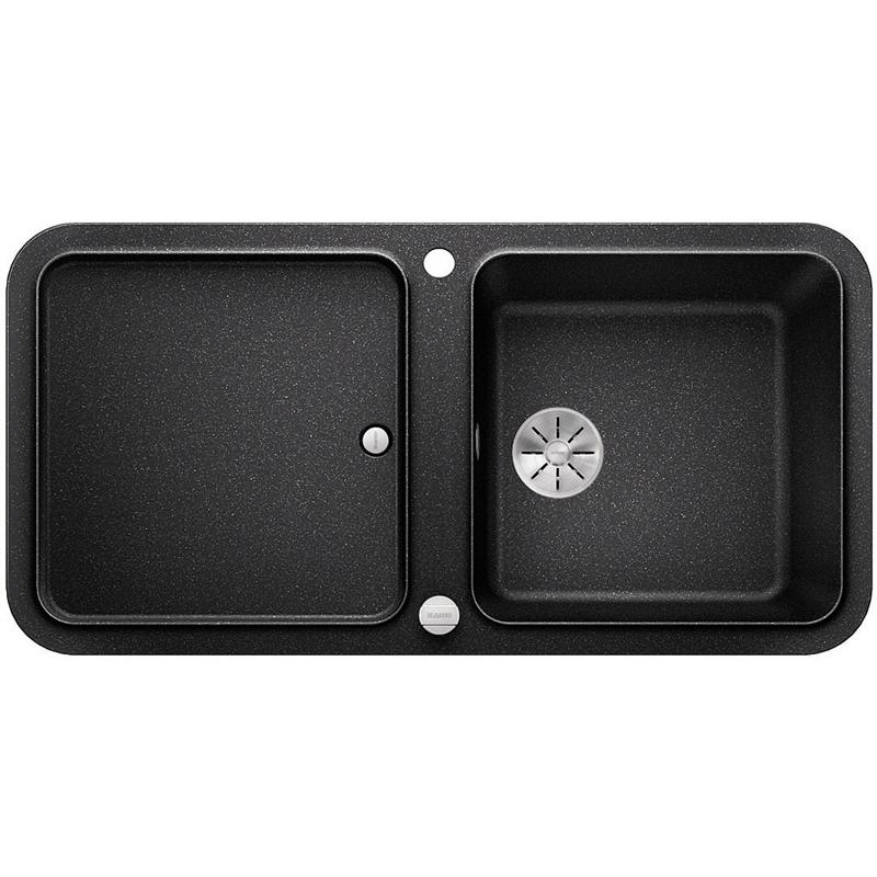 Yova XL 6S АнтрацитКухонные мойки<br>Кухонная мойка Blanco Yova XL 6S 523594.<br><br><br>Кухонная мойка коллекции Yova выполнена в современном стиле. По периметру она обрамлена тонким кантом, придающим ей изящный внешний вид. Модель оснащена функциональным неглубоким крылом с собственным отверстием слива, что позволяет использовать его не только для сушки посуды, но и для мытья зелени. Мойка отлично впишется в интерьер любой кухни.<br><br><br><br>Материал Silgranit PuraDur устойчив к механическим воздействиям и высоким температурам.<br>Стойкость к загрязнению и простота в уходе.<br>Непористая структура поверхности.<br>Монтаж: встраиваемый сверху (врезной).<br>Размер чаши (ШxГ): 42 x 42 см.<br>Размер монтажного отверстия (ШxГ): 98 x 48 см.<br>Поверхность мойки обладает антибактериальными свойствами.<br>Слив-перелив.<br>Функциональное крыло.<br>Два отверстия под смеситель.<br><br><br><br>Объем поставки: чаша мойки, клапан-автомат (3.5 дюйма),  разделочная доска (230434), отводная арматура InFino.<br>