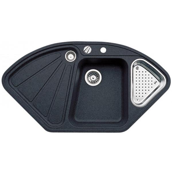 Delta II-F АнтрацитКухонные мойки<br>Угловая мойка для кухни Blanco Delta II-F 523670.<br>Современная кухонная мойка коллекции Delta с удобной трапециевидной чашей справа и расширением спереди позволит оптимизировать использование рабочей зоны благодаря плоскому канту, который обеспечивает легкий уход. Чаша изготавливается с большой диагональю, что позволяет упростить процесс мытья крупногабаритной посуды. Идеально сочетается в любом интерьере кухни.<br>Материал мойки: Silgranit PuraDur. На 80% состоит из натурального гранита и делает мойку очень прочной и устойчивой к высоким температурам (до 280 градусов), царапинам, кислотам и красящим веществам. Поверхность с антибактериальными свойствами.<br>Простота в уходе достигается за счет отсутствия пористой структуры и наличия водоотталкивающих компонентов в составе материала. Это препятствует образованию налета от воды и пятен. Мойка обладает теплым внешним видом материала и устойчивым цветом, который не выцветает даже под воздействием прямых солнечных лучей.<br>Вместительный перфорированный коландер выполнен из нержавеющей стали.<br>Функциональная отводная арматура InFino с клапаном-автоматом диаметром 3,5 дюйма.<br>Корзинчатый вентиль диаметром 3,5 дюйма для дополнительной чаши.<br>Монтаж: встраиваемый сверху, в уровень со столешницей.<br>Размер основной чаши (ШхГ): 42,5 х 18,3 см.<br>Размер дополнительной чаши (ШхГ): 20,3 х 12 см.<br>Размер монтажного отверстия (ШxД): 104,4 x 56,2 см.<br>Чаша справа, крыло слева.<br>Одно отверстие под смеситель и одно для клапана.<br>В комплекте поставки: чаша мойки, коландер, отводная арматура, клапан-автомат, корзинчатый вентиль.<br>