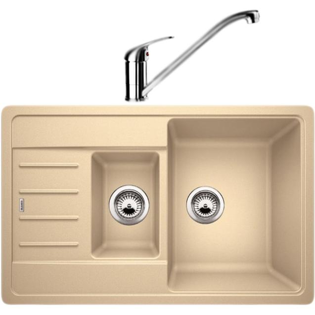 Legra 6S Compact со смесителем Daras мойка Жасмин смеситель ХромКухонные мойки<br>Оборачиваемая кухонная мойка Blanco Legra 6S Compact 521305D1 из гранита, компактных размеров, с вместительной большой чашей, с дополнительной малой чашей для установки коландера или сушки и с небольшим крылом с антискользящим рисунком. Элегантное решение для кухни: классический дизайн, приятный цвет, эффективное использование пространства и комфортные условия. В комплекте смеситель Blanco Daras однорычажный, с поворотным изливом, с аэратором, монтируемый в одно отверстие. Вращающийся на 360 градусов излив обеспечивает увеличенный радиус действия для легкого мытья и наполнения кастрюль.<br>Конструкция:<br><br>Кухонная мойка:<br>Цвет: жасмин Silgranit.<br>Универсальная ориентация: крыло слева или справа.<br>Экологически чистые и безопасные материалы.<br>Идеальный материал для кухни Silgranit: 80 процентов гранитной крошки.<br>Покрытие PuraDurII: защита от грязи и налета.<br>Приятная на ощупь и прочная поверхность: подобие отшлифованного камня.<br>Легкость в очистке, устойчивость к царапинам, ударопрочность.<br>Стойкость бытовым кислотам и выцветанию: 100 процентов.<br>Устойчивость к температурам: до 280 градусов.<br>Монтаж: встраиваемый сверху на тумбу шириной 60 см.<br>Рекомендации по монтажу: учитывать ширину пристенного канта.<br>Смеситель:<br>Цвет: глянцевый хром. Материал корпуса: латунь.<br>Поворотный излив: 360 градусов, L 22,7 см., H 18 см.<br>Аэратор: запатентованный рассекатель, защита от отложения налета.<br>Механизм: дисковый керамический картридж. Управление: рычажное.<br>Стабилизирующая пластина: увеличение устойчивости.<br>Подводка: гибкая, G 3/8, L 45 см.<br>Монтаж: на одно отверстие, D 3,5 см. Легкость и надежность в установке.<br><br>В комплекте поставки:<br><br>чаша мойки;<br>два размеченных отверстия для смесителя или аксессуаров;<br>отводная арматура с двумя корзинчатыми вентилями 3 1/2;<br>смеситель; гибкая подводка; комплект креплений.<br><br>