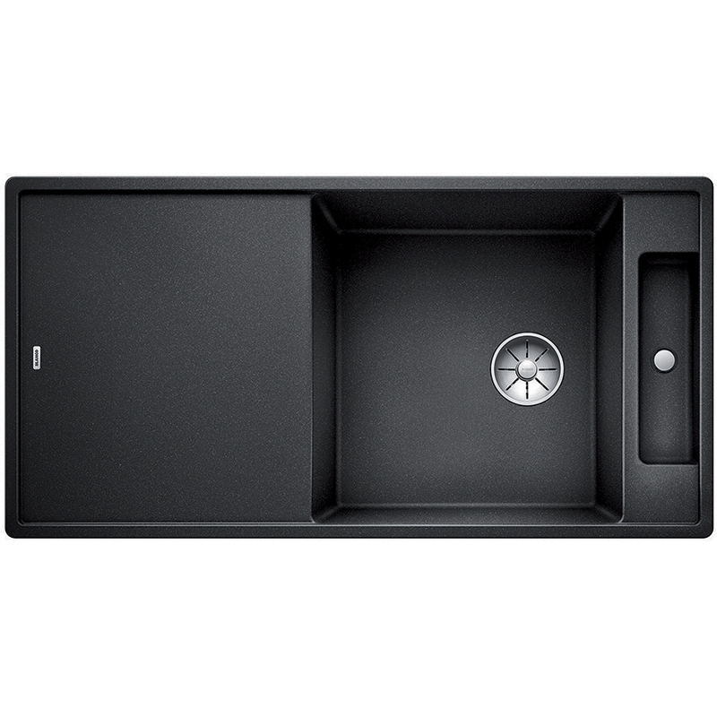 Axia III XL 6S с деревянной доской АнтрацитКухонные мойки<br>Кухонная мойка Blanco Axia III XL 6S 523500 с деревянной разделочной доской.<br><br><br>Кухонная мойка коллекции Axia III выполнена в современном стиле. По периметру она обрамлена тонким кантом, придающим ей изящный внешний вид. Модель подойдет для установки в просторной кухне. Она оснащена функциональным крылом, просторной чашей и отделением слив-перелива, которое можно использовать для сушки столовых приборов или хранения аксессуаров. Мойка отлично впишется в интерьер любой кухни.<br><br><br><br>Материал Silgranit PuraDur устойчив к механическим воздействиям и высоким температурам.<br>Стойкость к загрязнению и простота в уходе.<br>Непористая структура поверхности.<br>Монтаж: встраиваемый сверху (врезной) или снизу (под столешницу).<br>Размер чаши (ШxГ): 44 x 47 см.<br>Размер монтажного отверстия (ШxГ): 98 x 49 см.<br>Поверхность мойки обладает антибактериальными свойствами.<br>Слив-перелив C-overflow.<br>Функциональное крыло.<br>Два готовых отверстия под смеситель.<br><br><br><br>Объем поставки: чаша мойки, клапан-автомат (3.5 дюйма),  разделочная доска из ясеня (234051), отводная арматура InFino.<br>